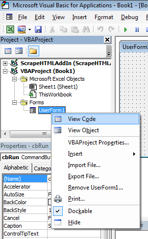 Excel VBA Tutorial: View code on the UserForm