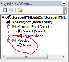 Excel VBA Tutorial: Click on the newly created module