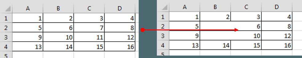 Excel Range Merged cells across rows