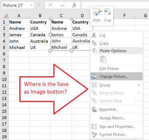 Excel: Right click only to find... there is no Save As Image