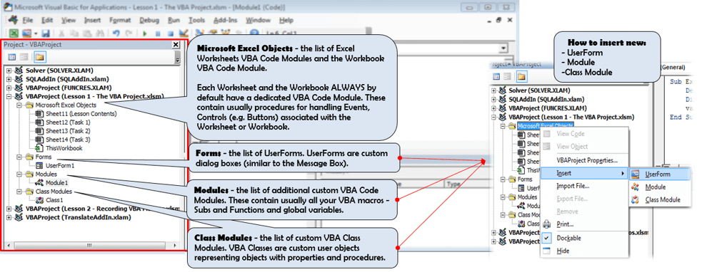 Excel Visual Basic Editor Overview