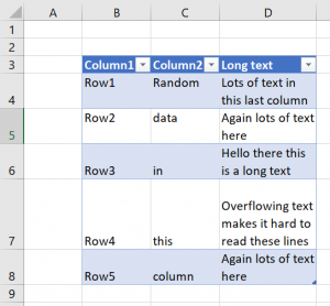 Example table with long text - converted to Excel Table