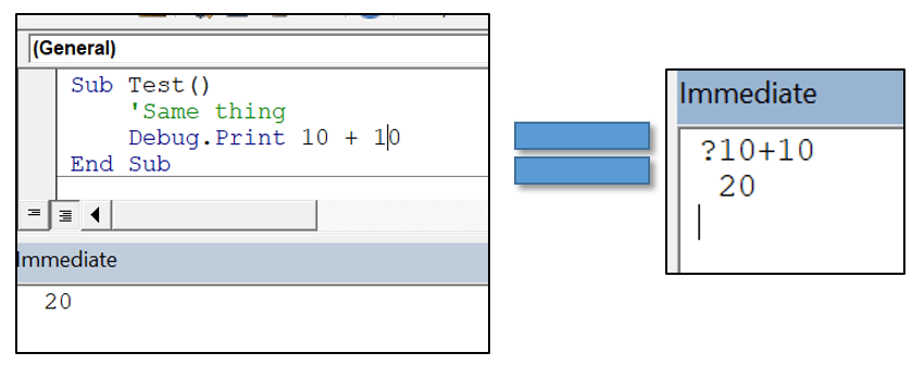 VBA Trick Use question mark for instant Debug Print