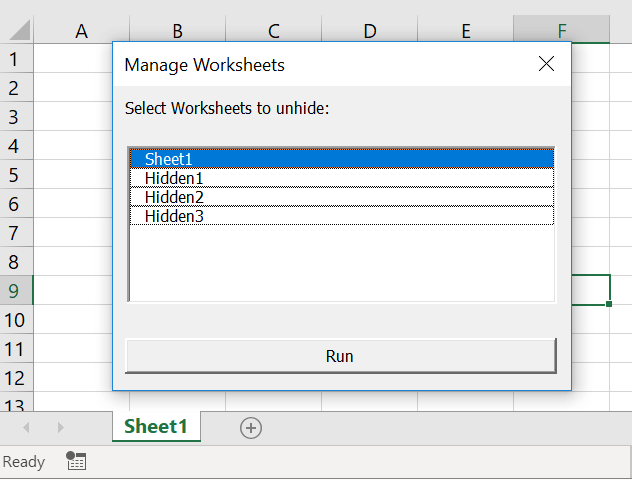 Unhide Multiple Sheets in Excel