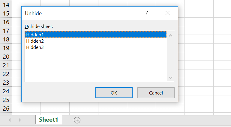 Unhide Sheets in Excel