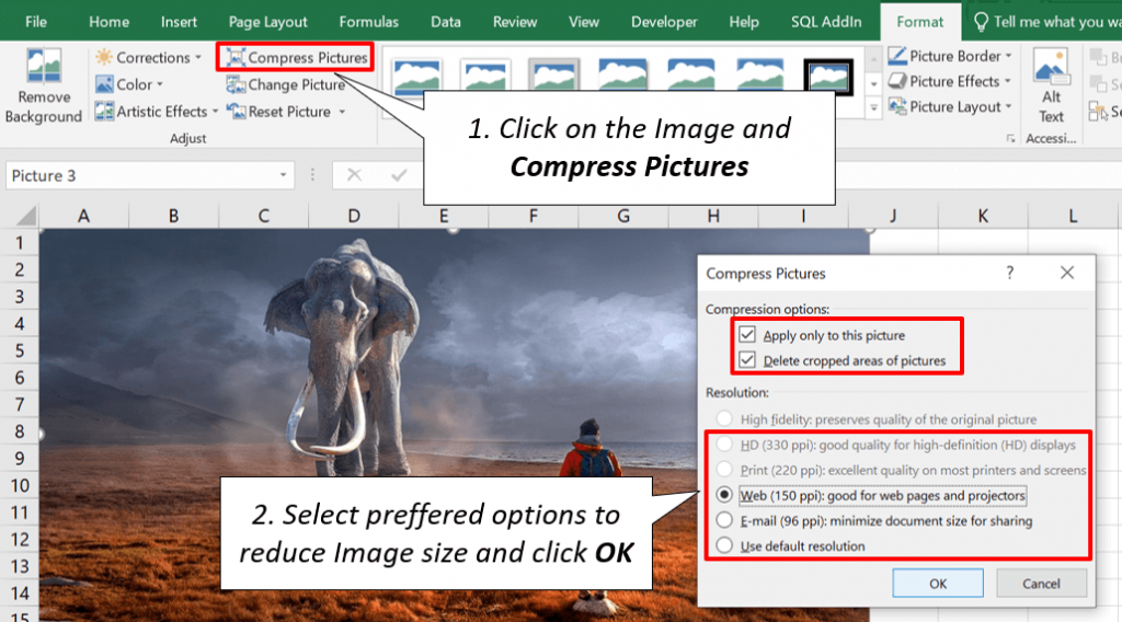 Excel Crop Images and Reduce Resolution