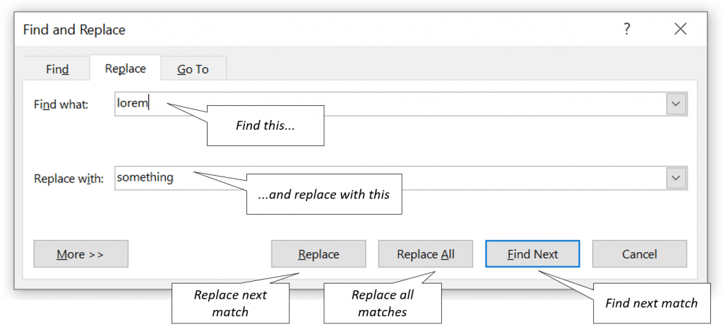 Find and Replace fields explained