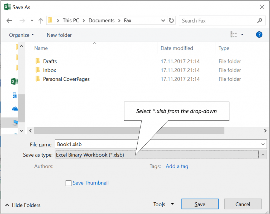 Save Excel file as XLSB