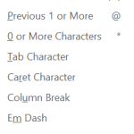 Word Wildcard Special Characters