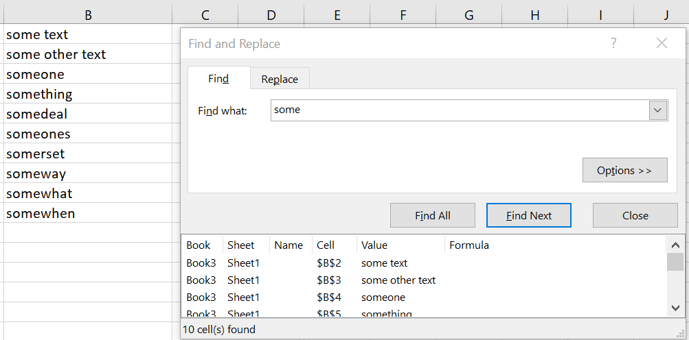 Excel Find and Replace example