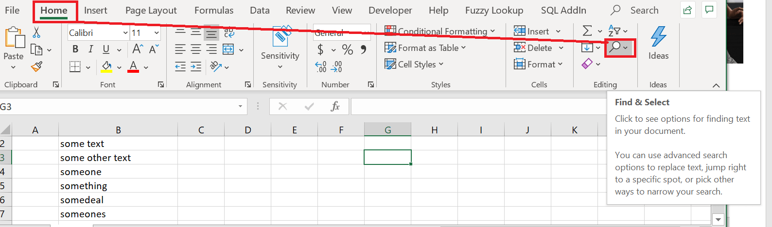 Excel Search feature CTRL+F